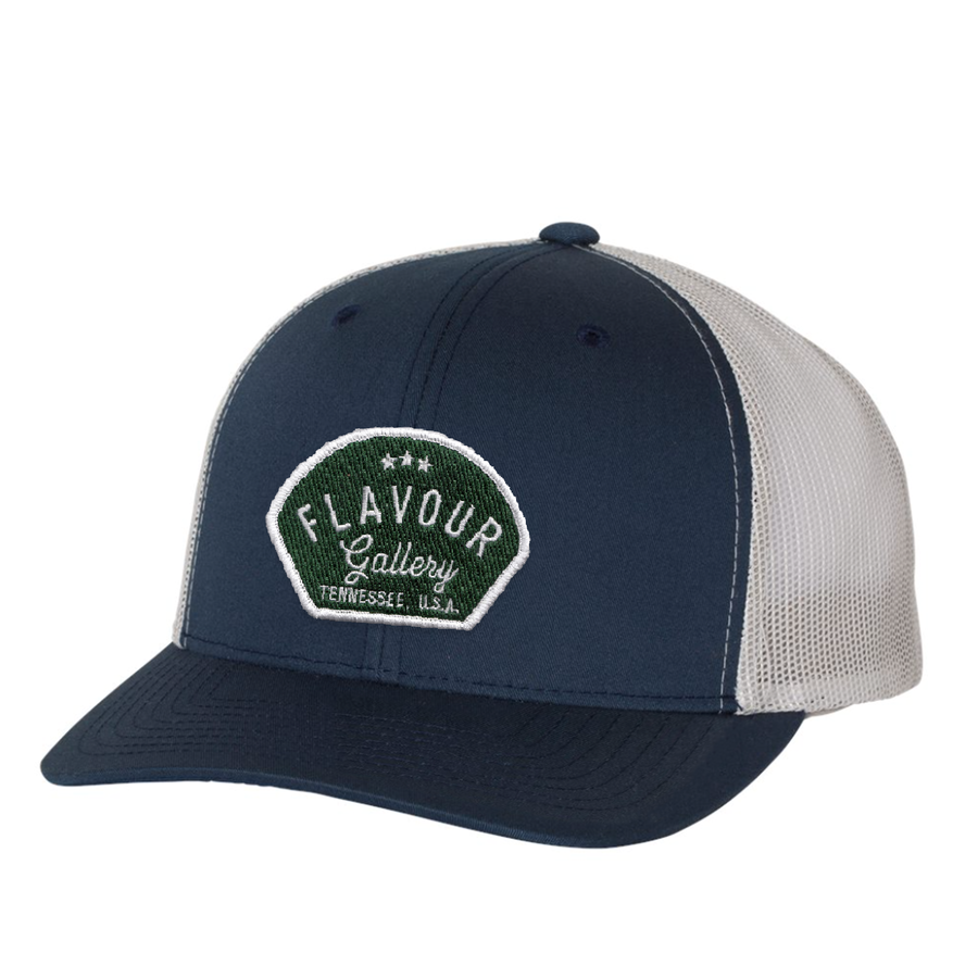 Flavour Gallery - Trucker Hat - Navy/Silver - Green Patch