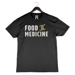 Food Is Medicine by Pete Evans - Unisex/Men's Crew - Charcoal Black