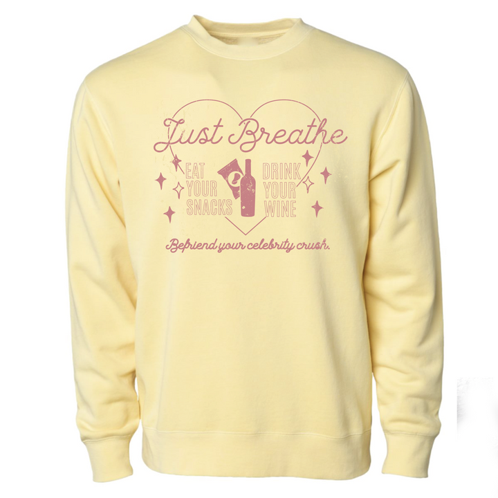 @SAMANTHASOMMELIER - Just Breathe - Pigment-Dyed Crewneck Sweatshirt - Yellow