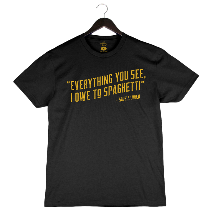 Spaghetti Quote By Leslie Durso - Unisex/Men's Crew - Black