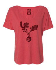 Beet - Women's Loose V-Neck