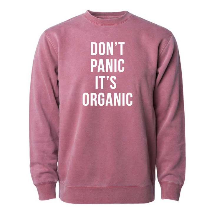 Don't Panic It's Organic - Unisex Crewneck Sweatshirt - PIGMENT RED