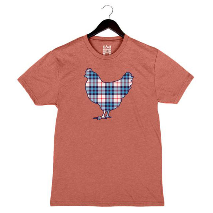 Plaid Rooster - Unisex/Men's Crew - Clay