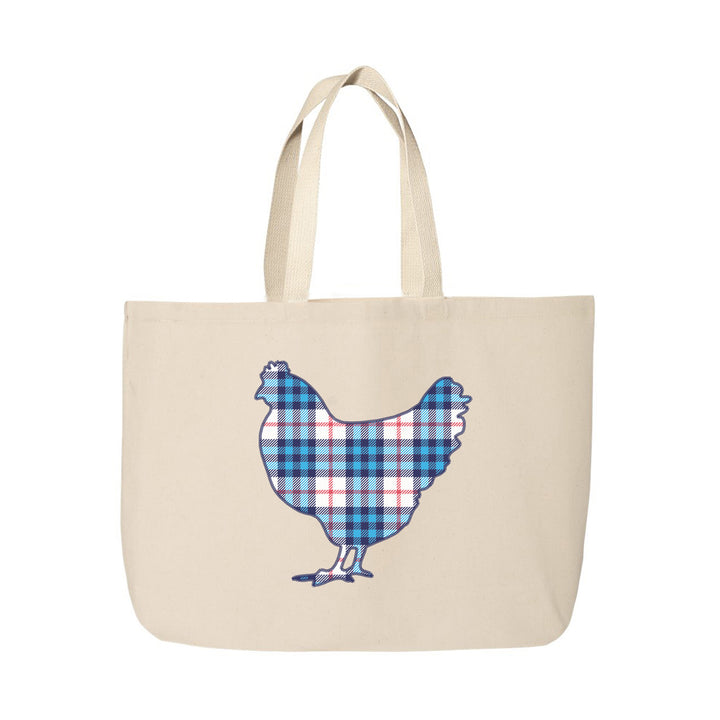 Plaid Rooster Beach Tote Bag
