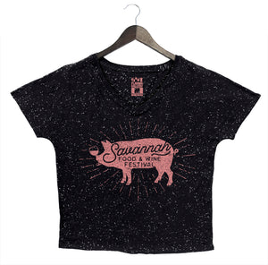 Savannah Food & Wine 2018 - Pig - Women's Loose V-Neck - Black Speckle