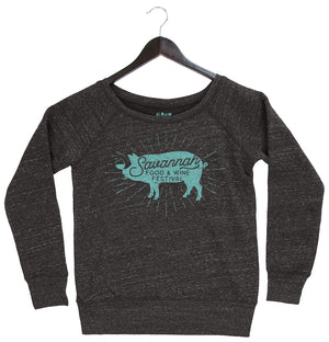 Savannah Food & Wine 2018 - Pig - Women's Fleece Sweatshirt - Charcoal Black