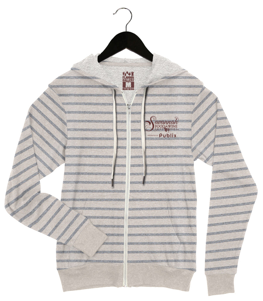 Savannah Food & Wine 2018 - Pig - Unisex Zip Up Hoodie - Grey/Oatmeal Striped