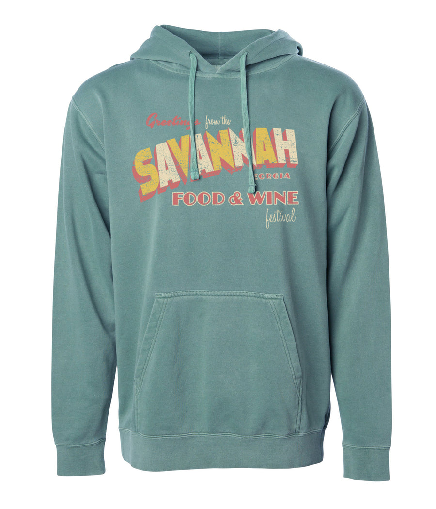 Savannah Food & Wine 2018 - Postcard - Unisex Hoodie - Evergreen