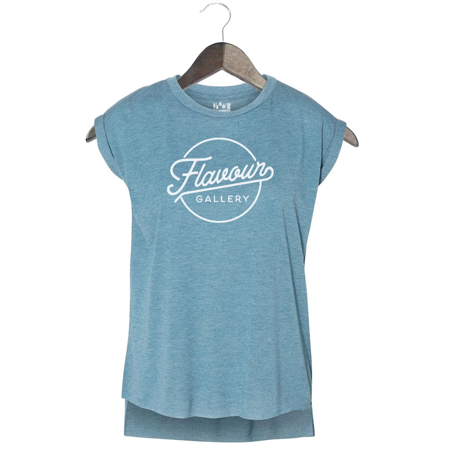Flavour Gallery - Script - Women's Rolled Sleeve Muscle Tank