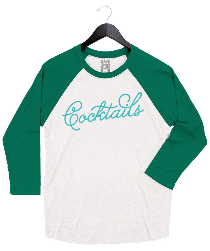 Cocktails - Unisex Raglan - Kelly Green & White