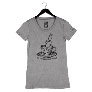 Whiskey In A Teacup by Tupelo Honey - Women's Crew - Heather Grey
