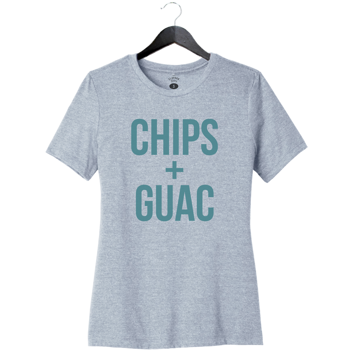 Chips + Guac - Women's Relaxed Crew - Heather Prism Blue