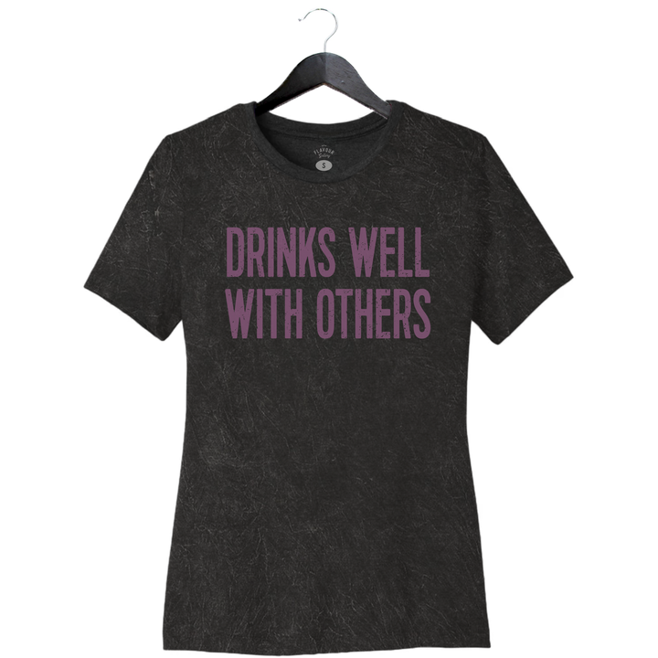Drinks Well With Others - Women's Relaxed Crew - Mineral Wash Black