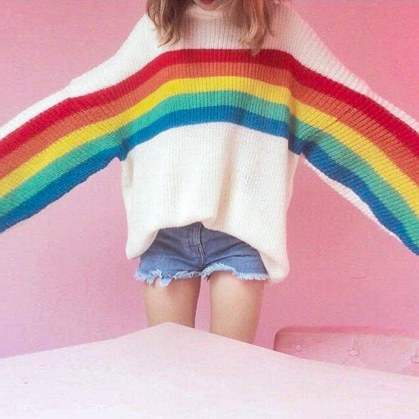 Round neck long sleeve rainbow knit sweater