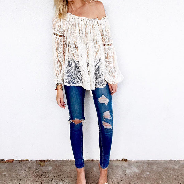 Casual sexy print long sleeve hollow-out top