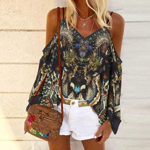 Bohemia Printed Shoulder Collar Shirt