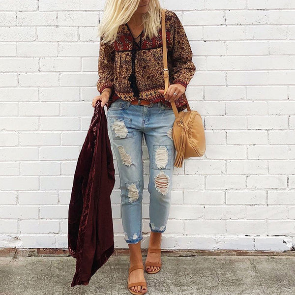 Bohemian V-neck lace up print loose shirt