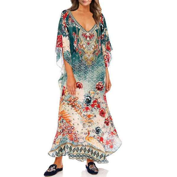 Women's casual v-neck positioning printed vacation beach dress