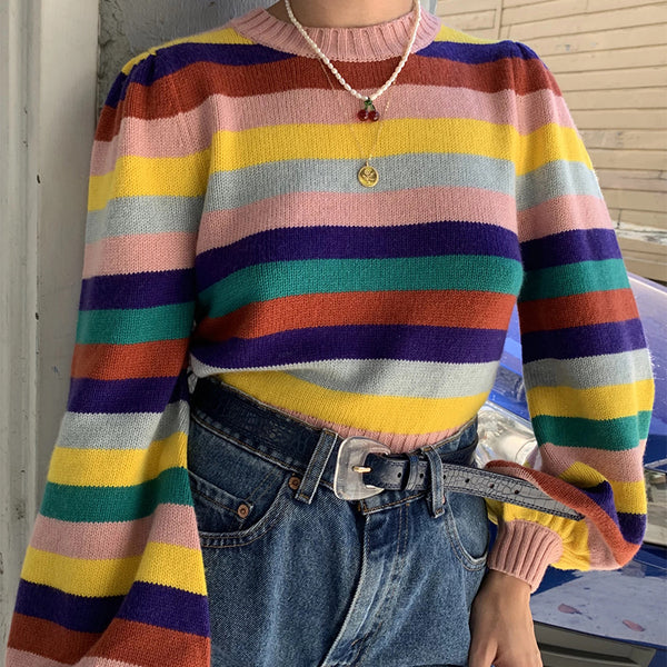 Women's casual round neck Rainbow Stripe loose sweater