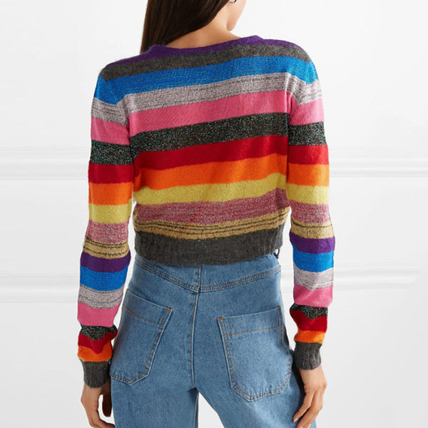Women's Short Rainbow Striped Knit Sweater