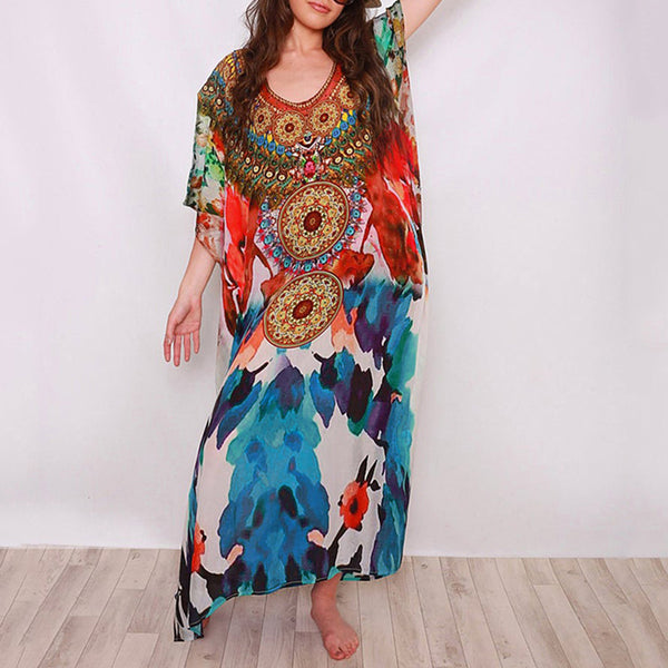 Loose positioning printed beach sun protection vacation dress