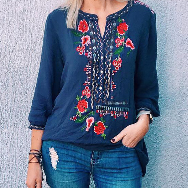 Vintage v-neck long sleeve print top
