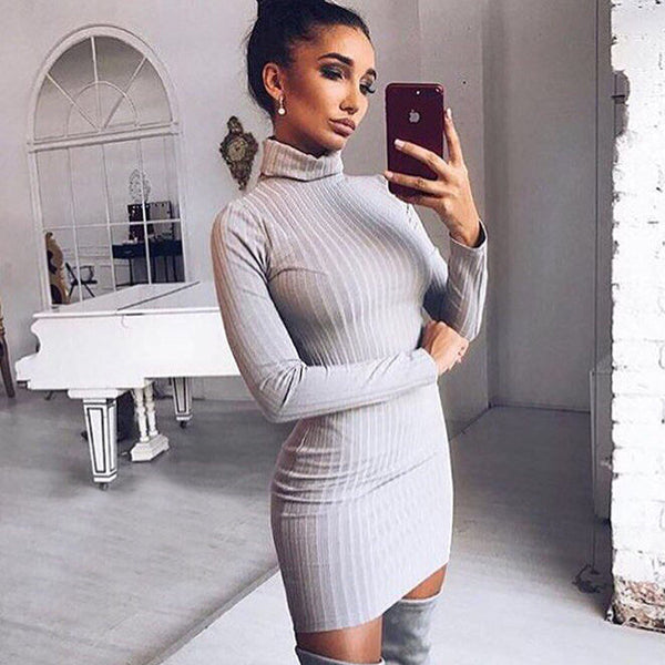 Sexy Solid Color Turtleneck Sweater Bodycon Dress