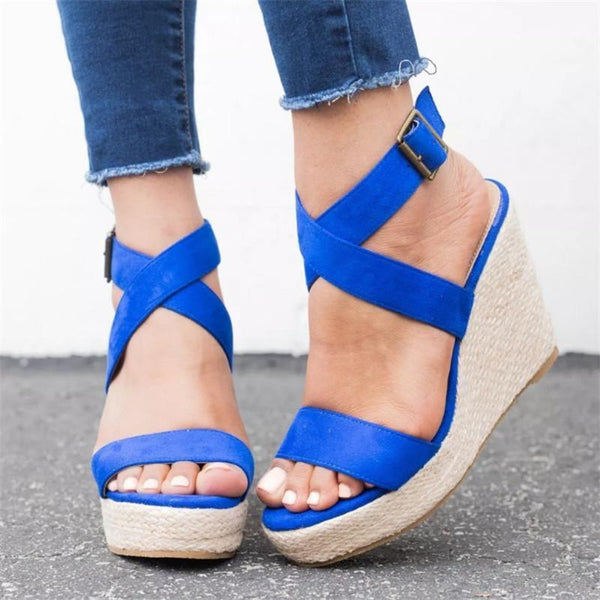 Fashion Open Toed Strappy Slope Wedge Sandal