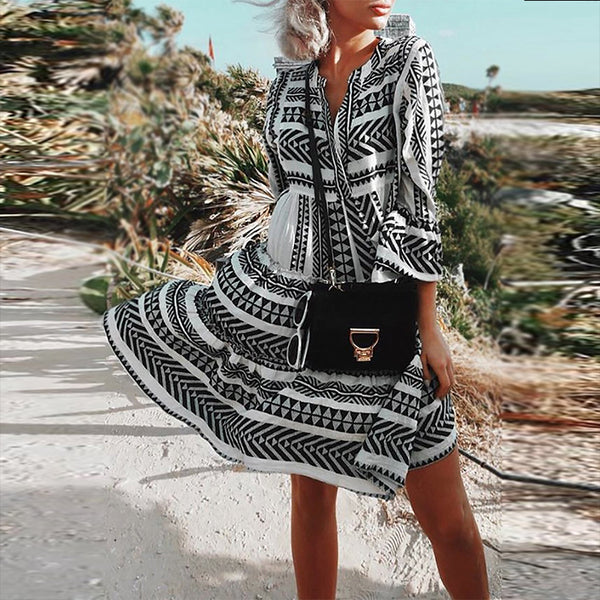 Bohemian Printed Colour Bell Sleeve Pleated Dress - Picolamo