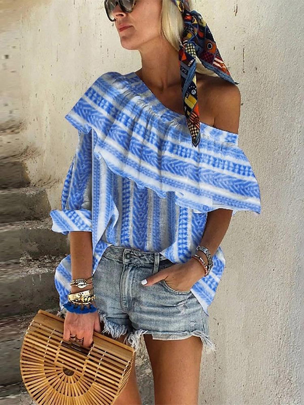 Sexy Open Shoulder Stripe Print Loose Irregular Shirt