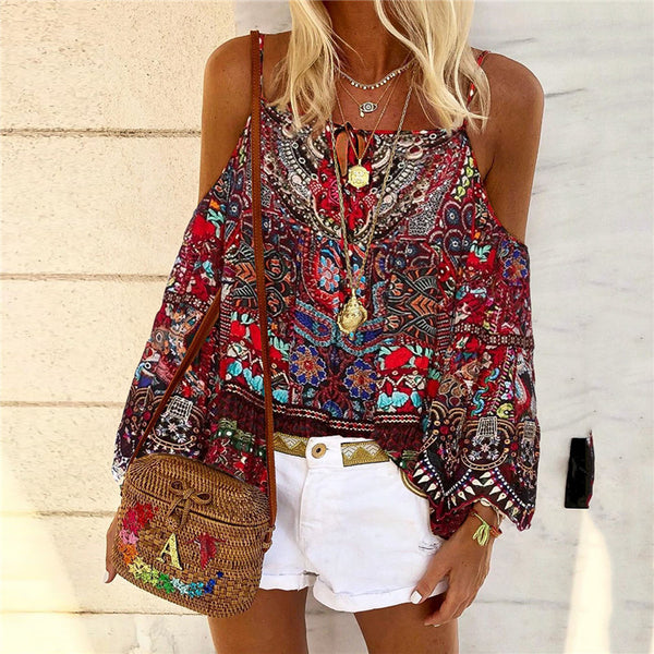 Women's Bohemian Off-shoulder Printed Color Long Sleeve Sling Blouse