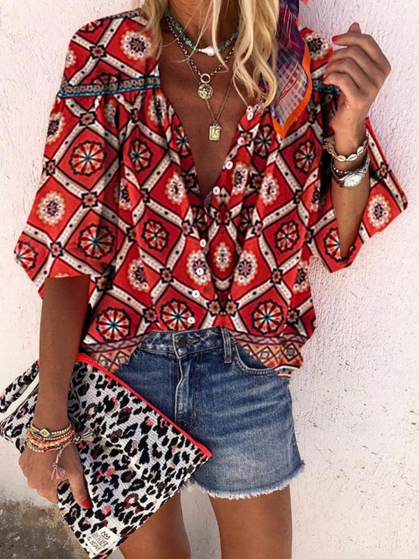 Bohemian V Neck With Buttons Printed Bracelet Sleeve Shirt - Picolamo