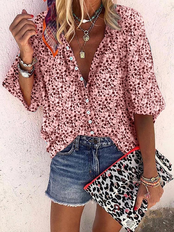 V Neck Halflong Sleeve Printed Colour Single-Breasted Loose Blouse