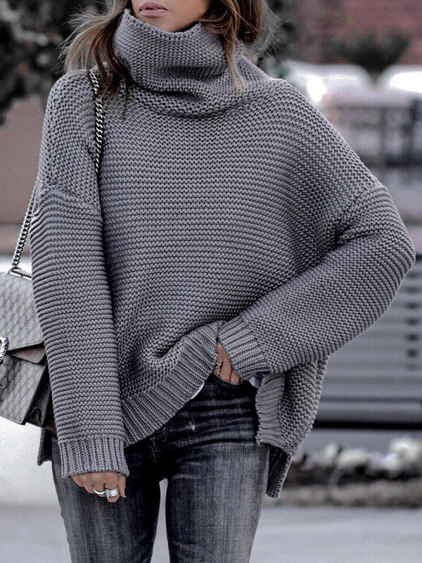 Casual Knit High Collar Long Sleeve Sweater - Picolamo