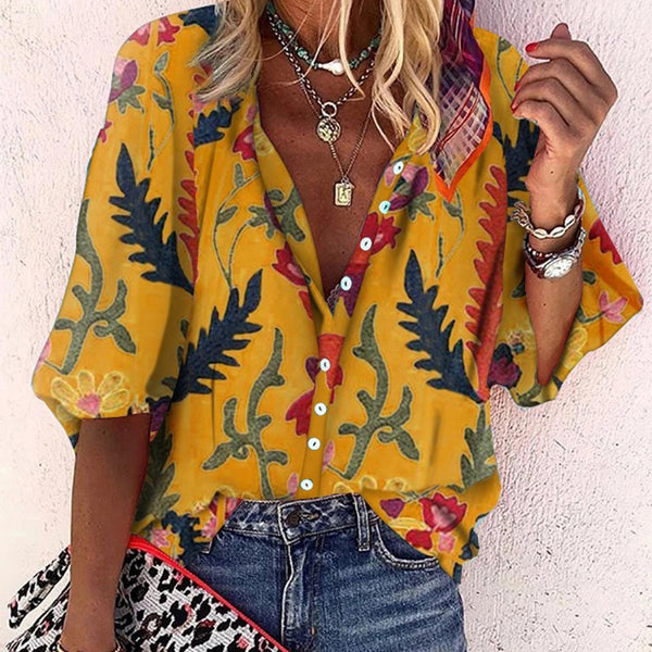 Casual Printed Colour Single Breasted Long Sleeve Loose Blouse - Picolamo