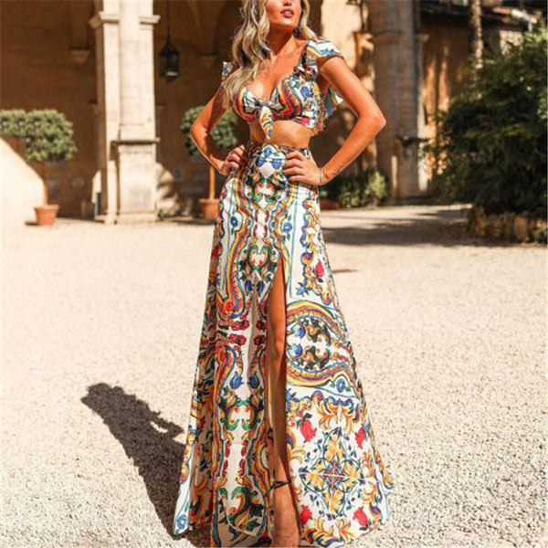 Casual Printed Deep V Neck Slit Suit