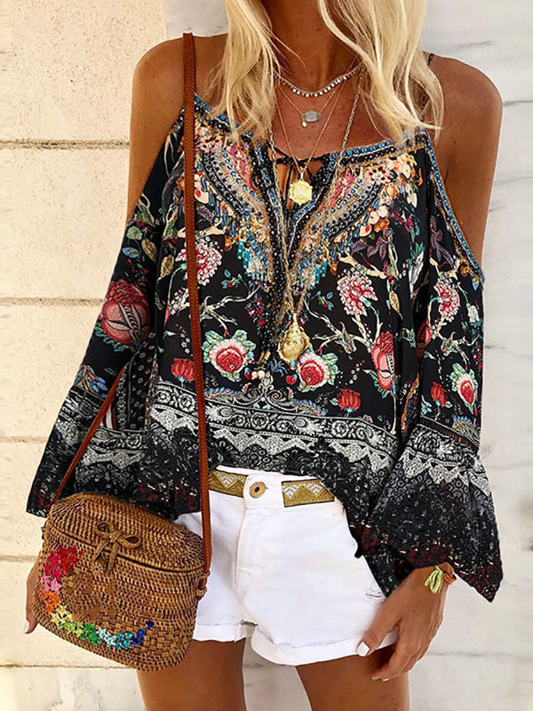 Fashion Splicing Printed Sling Off Shoulder Shirt