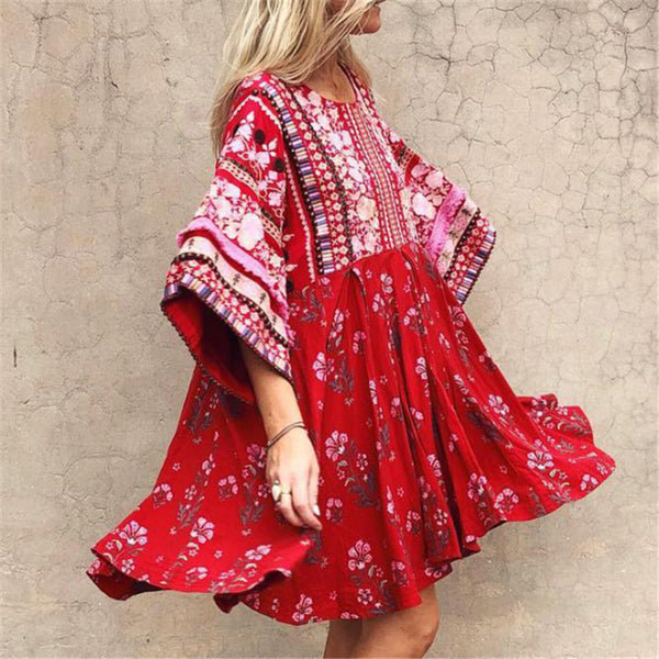Bohemia Floral Printed Long Sleeve Dress