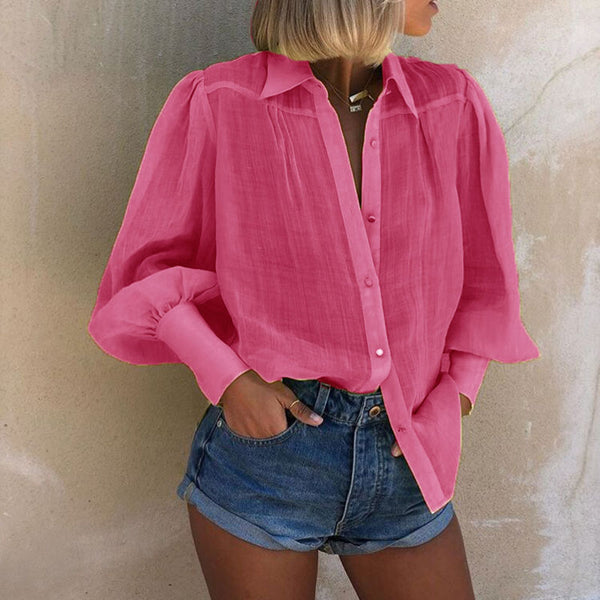 Women's Fashion Puff Sleeve Loose Paneled Shirt
