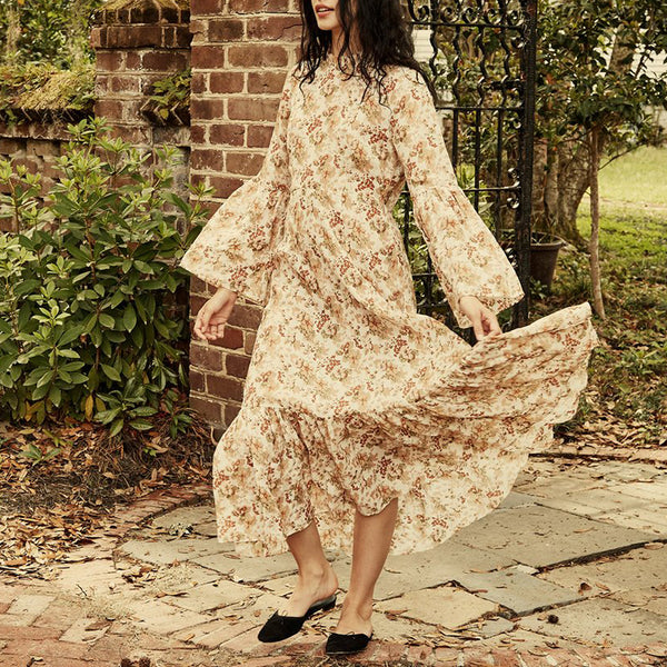 Bohemian casual short high neck long sleeve print dress