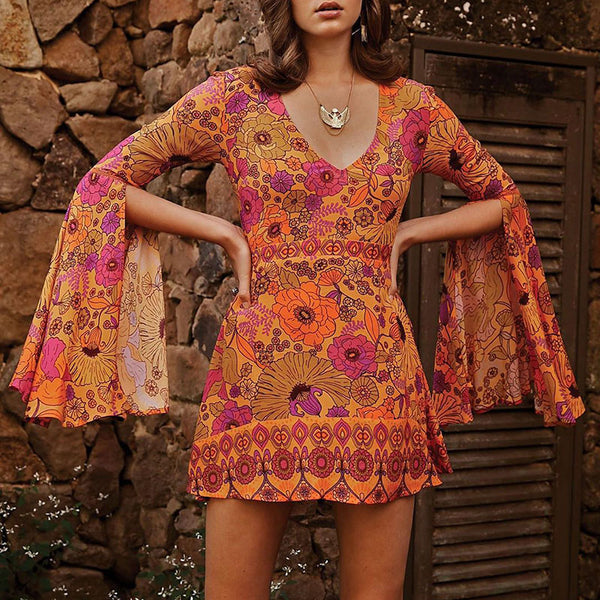 Bohemian v-neck long-sleeved dress