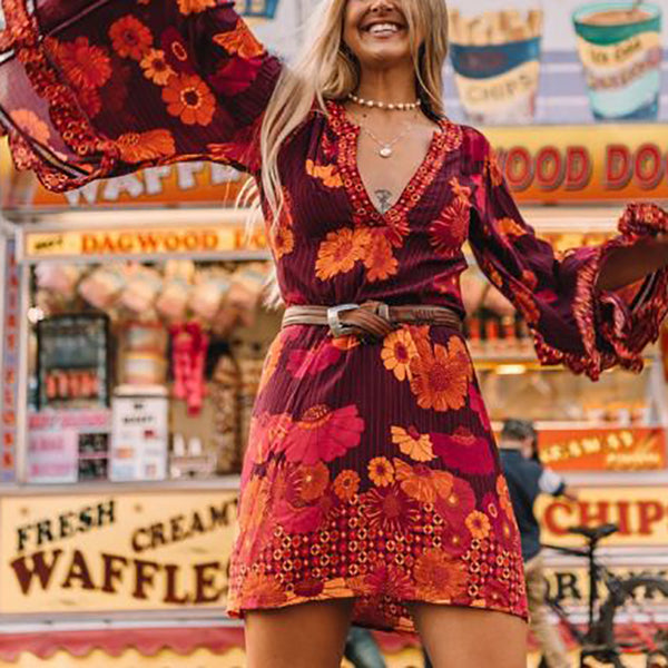 Bohemian V-neck floral print flared sleeve dress