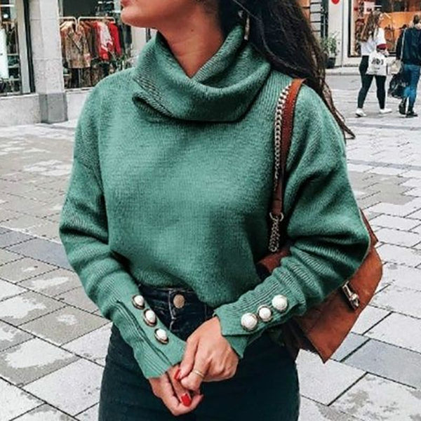 Turtleneck Women Fashion Solid Color Button Casual Pullover