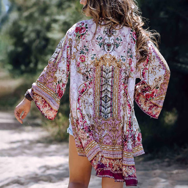 Bohemian printed flared sleeves loose cardigan