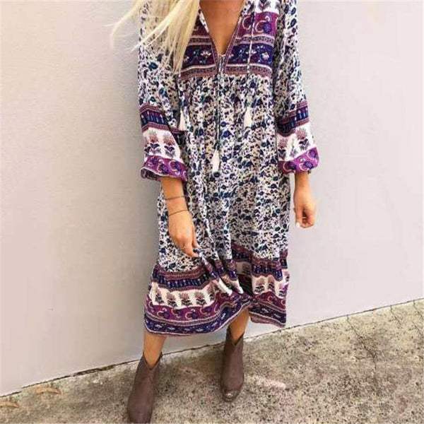 Bohemia V Neck Printed Dress