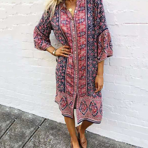 Bohemia Printed Three-quarter Sleeve Dress