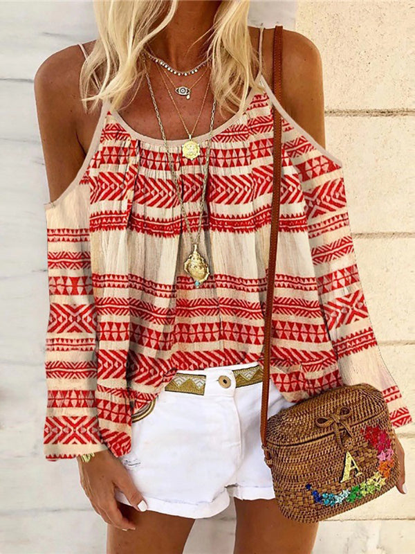 Women's Bohemian Printed Color Off-shoulder Long Sleeve Top