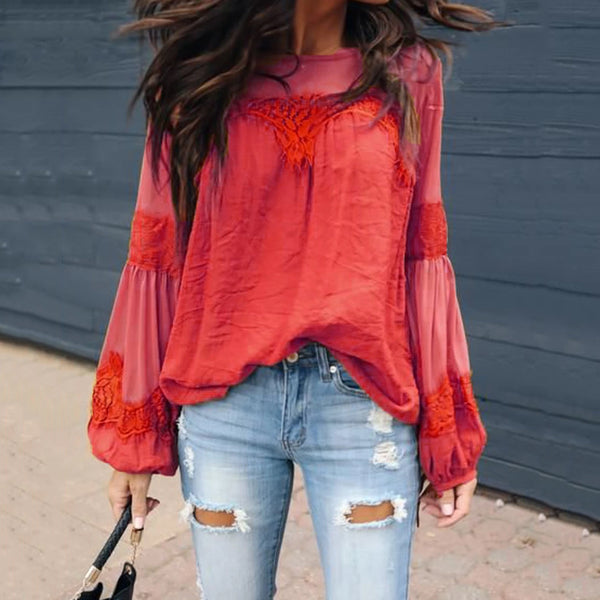 Casual Round Neck Lace Panel Lantern Sleeve Shirt