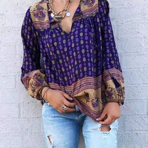 Bohemian V-neck printed loose shirt