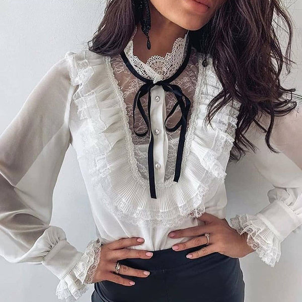 Sweet Stand Collar White Ruffle Petal Sleeve Bow Blouse